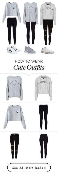 """3 cute outfits"" by olivia-fashionhomebeauty on Polyvore featuring moda, NIKE, Chicnova Fashion, adidas, Topshop, Converse, women's clothing, women, female e woman"