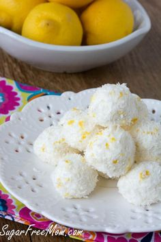 Dessert Recipe: No-Bake Sugar-Free Lemon Coconut Truffles Low Carb Sweets, Low Carb Desserts, Healthy Sweets, Party Desserts, Low Carb Recipes, Dessert Recipes, Cooking Recipes, Lemon Desserts, Healthy Recipes