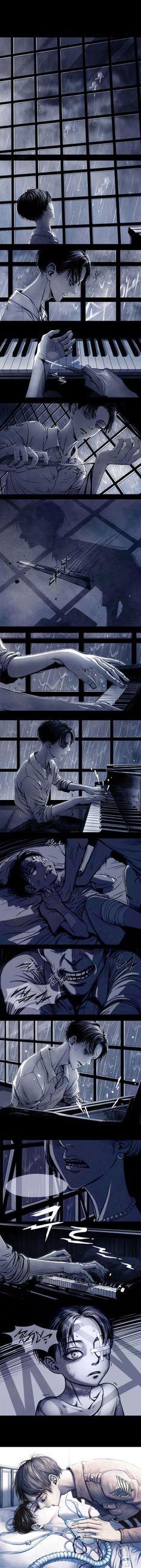 Attack on titan Levi piano rain