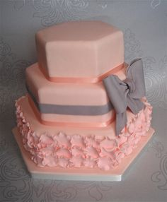 Peach Ruffle Wedding Cake by Sugar Ruffles