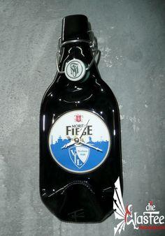 Deko Wanduhr Bier Flasche *Fiege Pils/VfL Bochum*  Schmelz-Flaschenuhr Unikat