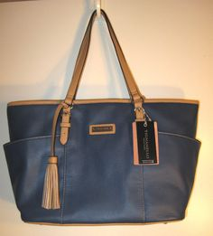 Tignanello Pebble Leather Preppy Classic Tote Sailor Blue & Tan NWT $149 in Clothing, Shoes & Accessories, Women's Handbags & Bags, Handbags & Purses | eBay
