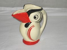 RARE Vintage Art Deco Czech Pottery Toucan Character Figural Pitcher Red   eBay