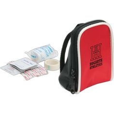 """Mini backpack first aid kit is 2 3/4"""" x 3/8"""" x 2 3/4"""". Red nylon bag with zipper closure. 10 adhesive bandages. 2 alcohol prep pads. 1 nonwoven tape. 1 conforming bandage. 1 burn cooling gel. 1 USA mad antibiotic ointment. Not available for sale in Canada."""