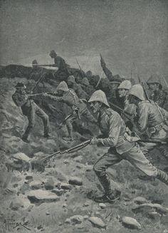 British troops rushing the top of Spion Kop