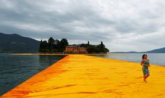 "For 16 days, ""The Floating Piers,"" a saffron-colored walkway, will connect two small islands in a lake in Northern Italy to the mainland."