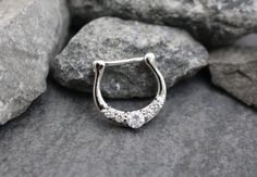 Silver Septum Ring Septum Clicker 16G Conch Earring by MyBodiArt