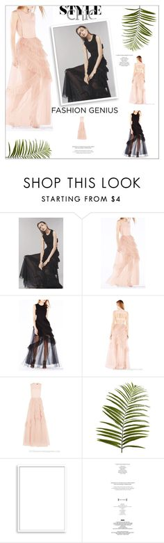 """""""BCBG Avalon Sheer Cutout Tulle Dress"""" by evermissjody ❤ liked on Polyvore featuring BCBGMAXAZRIA, Pier 1 Imports and Bomedo"""