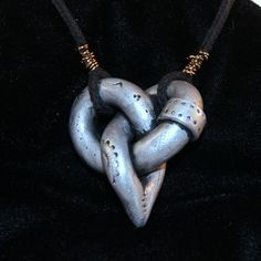 Steampunk Polymer Clay Celtic Knot Heart by thesinisterscribe