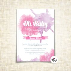 Baby Girl shower watercolour invitation  5x7 by ArtTypes on Etsy