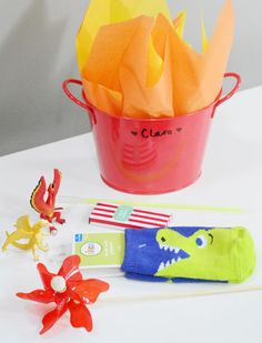 """Great girly dragon party, but totally could be made more boyish.  Love the food ideas and the """"fire"""" packaging for the goody bag"""
