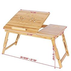 Awesome SONGMICS Bamboo Laptop Desk Serving Bed Tray Tilting Top ULLD001 Home Design Ideas
