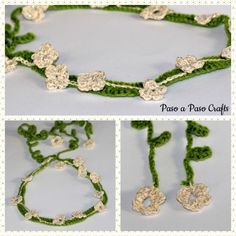 Crochet floral headband-free pattern by Paso a Paso Crafts. Step by step photo tutorial! Green and beige elegant floral headband for hula girls!
