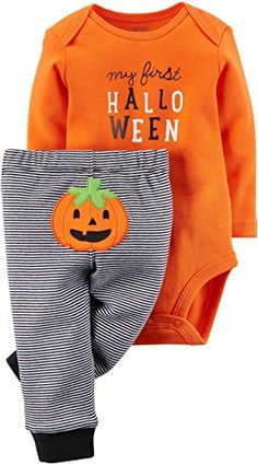 100% cotton rib Imported Machine washable Carter's Unisex Baby First Halloween 2-piece Bodysuit Pant Set (6 Months, Orange/Black)