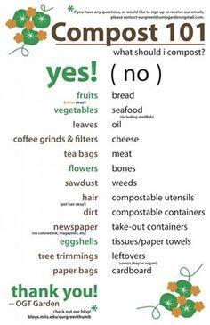 Printable for what to compost & what not to compost - of course, many of the items on both sides (like bread & veggies) are great for the chickens; add chicken muck to your compost but let it age before putting on plants or it will burn them. Gardening For Beginners, Gardening Tips, Balcony Gardening, Kitchen Gardening, Texas Gardening, Gardening Magazines, Gardening Gloves, Composting 101, Garden Compost