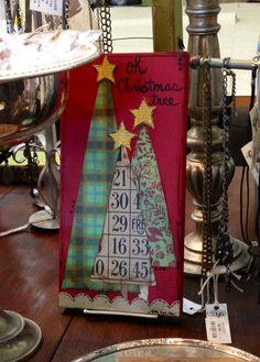 Oh Christmas Tree canvas mixed media Christmas Tree Canvas, Christmas Mix, Christmas Paintings, Christmas Signs, Christmas Projects, All Things Christmas, Holiday Crafts, Christmas Holidays, Christmas Decorations