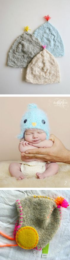 #Baby hats for extra comfy – so sweet!   1. #Tutorial from #ThePurlBee  2. #Newborn #hat blue bird from #MaddieLouBeanies  3. #Kidsmodern hat