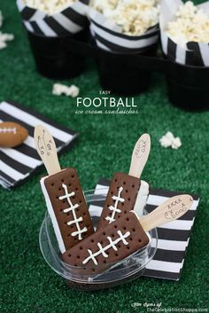 Football Ice Cream Sandwiches. What a great dessert recipe idea for Father's Day!
