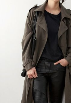 Olive green trench black leather pants #minimalist #fashion #style