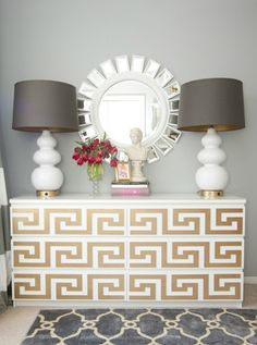 Ikea Malm Dresser Goes Glam. Link to site that sells a bunch of stuff to jazz up ikea furniture. Street Design, Furniture Makeover, Home Furniture, Ikea Malm Dresser, Ikea Drawers, Interior Design Inspiration, Dresser Inspiration, Dresser Ideas, Design Ideas