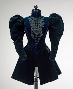 Extreme mutton sleeved Jacket, 1895. Silk with jet beads.