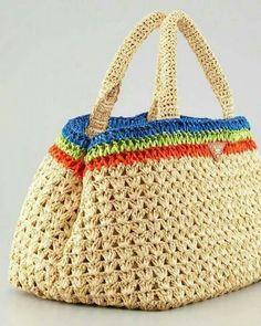 Prada style crochet bag raffia bag by auntieshirley Crochet Handbags, Crochet Purses, Crochet Bags, Free Crochet, Knit Crochet, Tapestry Crochet, Prada Handbags, Prada Bag, Knitted Bags