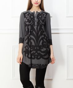 Charcoal & Black Abstract Notch Neck Tunic | zulily