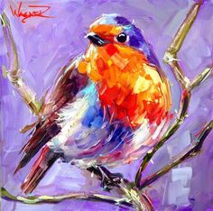 """Daily Paintworks - """"CONTEMPORARY BIRD PAINTING BLUE BIRD by OLGA WAGNER"""" - Original Fine Art for Sale - © Olga Wagner"""