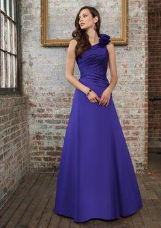Taffeta One Shoulder Vertical Pleated Bodice Floor-length Bridesmaid Dress