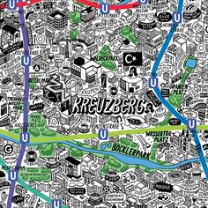 Hand Drawn Map Of Berlin Art Print   Art Prints & T-shirts from Evermade
