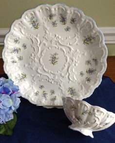 Sweet Staffordshire Chip and Dip, Bowl with Underplate, Forget-Me-Knots, English Bone China, MINT, Queen's Staffordshire by KathyKupboard on Etsy