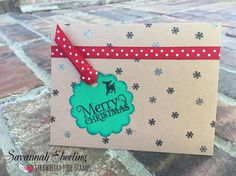 """Merry Christmas! Christmas card using the clear photopolymer stamp sets, """"Tag It: Christmas"""" and """"Don't Forget School: Icons"""" from Strawberry Jude Stamps."""