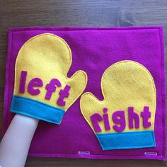 Left & Right Mittens Quiet Book Page; Educational Toys Toddler Games Early Learning Busy Books Pages Preschool Left and Right Hands Diy Quiet Books, Baby Quiet Book, Felt Quiet Books, Toddler Learning Activities, Games For Toddlers, Toddler Games, Indoor Activities, Family Activities, Summer Activities