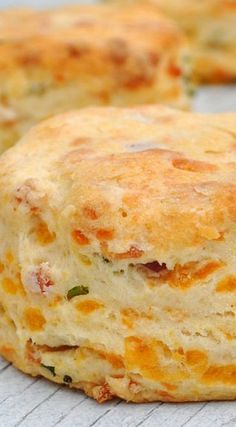Cheddar Chive and Bacon Biscuits. You had me at BACON!