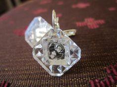 Antique button earrings, clear cut glass buttons