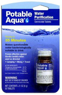 Potable Aqua Water Treatment Tablets --- http://www.amazon.com/Potable-Aqua-Water-Treatment-Tablets/dp/B001949TKS/?tag=getyourconfid-20