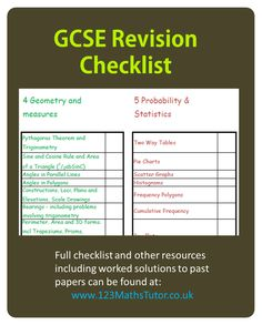 90 Best Maths GCSE - Past Papers, Revision checklists, Grade