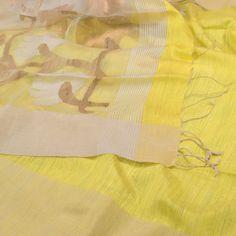 Handwoven Lemon Yellow Organza Sari with Delicate Jamdani Work on the Pallu