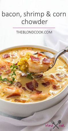 BACON, SHRIMP AND CORN CHOWDER INGREDIENTS 5 slices Hickory Smoked Wright Brand Bacon, cut into small pieces 1 pound medium shrimp, peeled and deveined 2 cups chopped yellow onion 1 tablespoon fresh minced garlic 1 teaspoon paprika Chowder Recipes, Soup Recipes, Potato Recipes, Recipies, Dessert Recipes, Seafood Dishes, Seafood Recipes, Cooked Shrimp Recipes, Seafood Soup