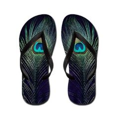 Royal Purple Peacock Flip Flops.  I love these so much!  The shoes have a deep purple background with the most stunning teal, blue and green peacock bird feathers.