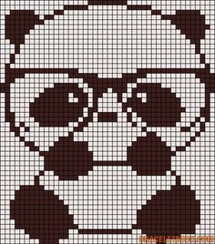 Alpha Pattern Nerd Panda Bear Chart for Cross Stitch Friendship bracelet etc