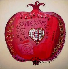 canan berber Pomegranate Art, Armenian Culture, Fruit Painting, Turkish Art, Arabic Art, Jewish Art, Paintings I Love, Islamic Art, Art School