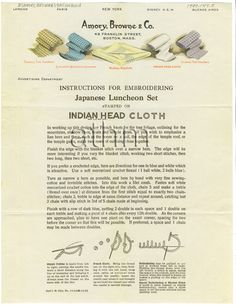 Instruction for embroidering Japanese luncheon set stamped on Indian Head cloth.