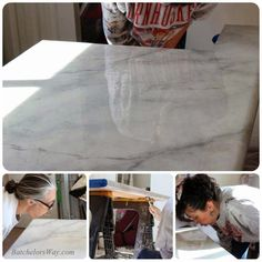 Glossy Faux Marble Countertop Tutorial, Batchelors Way On Remodelaholic  Faux Marble Countertop, Painting Countertops