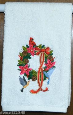 CHRISTMAS FESTIVE WREATH WITH BIRDS - 2 EMBROIDERED HAND TOWELS by Susan