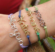 wire name personalized bracelet, name bracelet