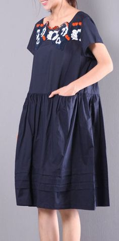 navy baggy loose linen dresses embroidery drawstring short sleeve mid dress