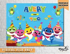 DIGITAL FILE Baby Shark Party Backdrop Sea Animals Personalized Underwater Sharks Creatures