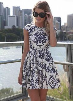 Paisley Print Sleeveless Dress with High Neckline&Cap Sleeve<br/><div class='zoom-vendor-name'>By <a href=http://www.ustrendy.com/Xenia>Xenia</a></div>