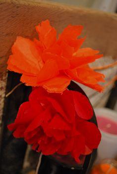 tissue paper flower display